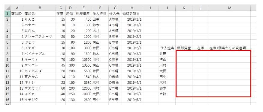 サンプルシート上の結果表範囲初期化