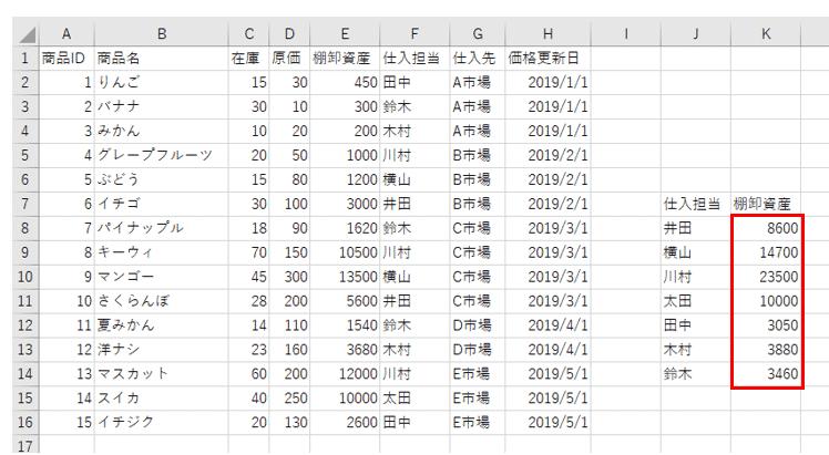 VBAサンプルコード実行結果