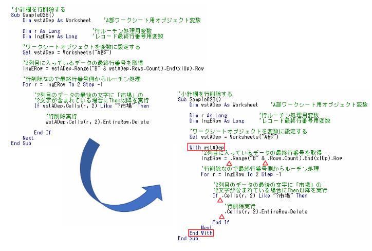 Withを使う場合と使わない場合の比較のためのVBAコードサンプル