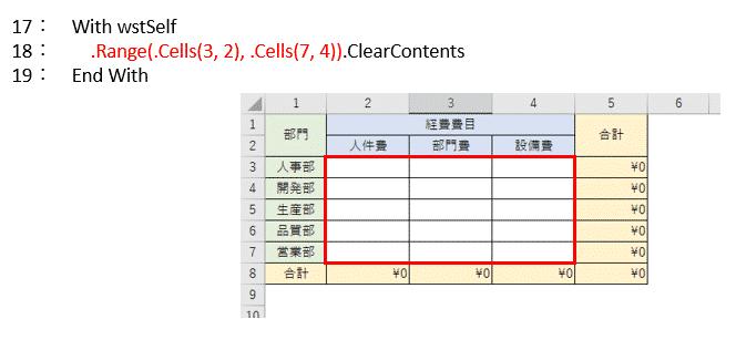 表の結果表示範囲を初期化