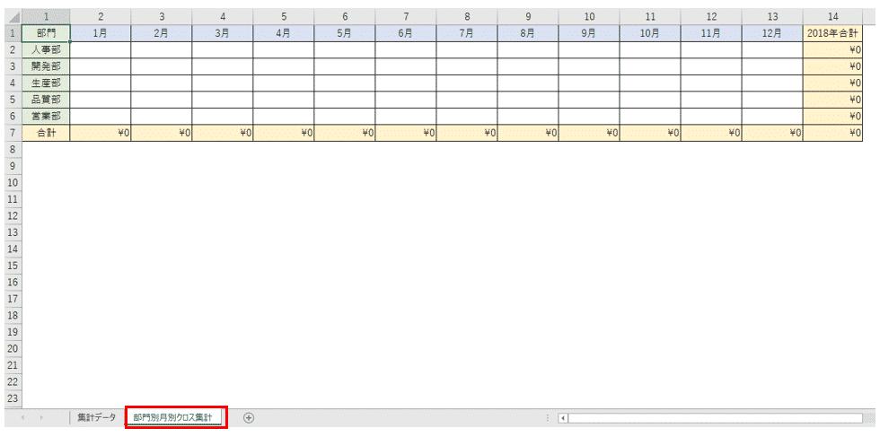 結果を表示する表(サンプルシート2枚目)
