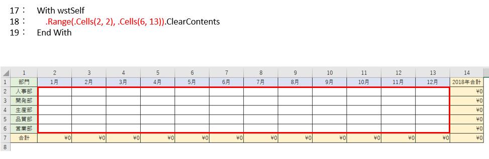 結果表示範囲をクリアするVBAコード