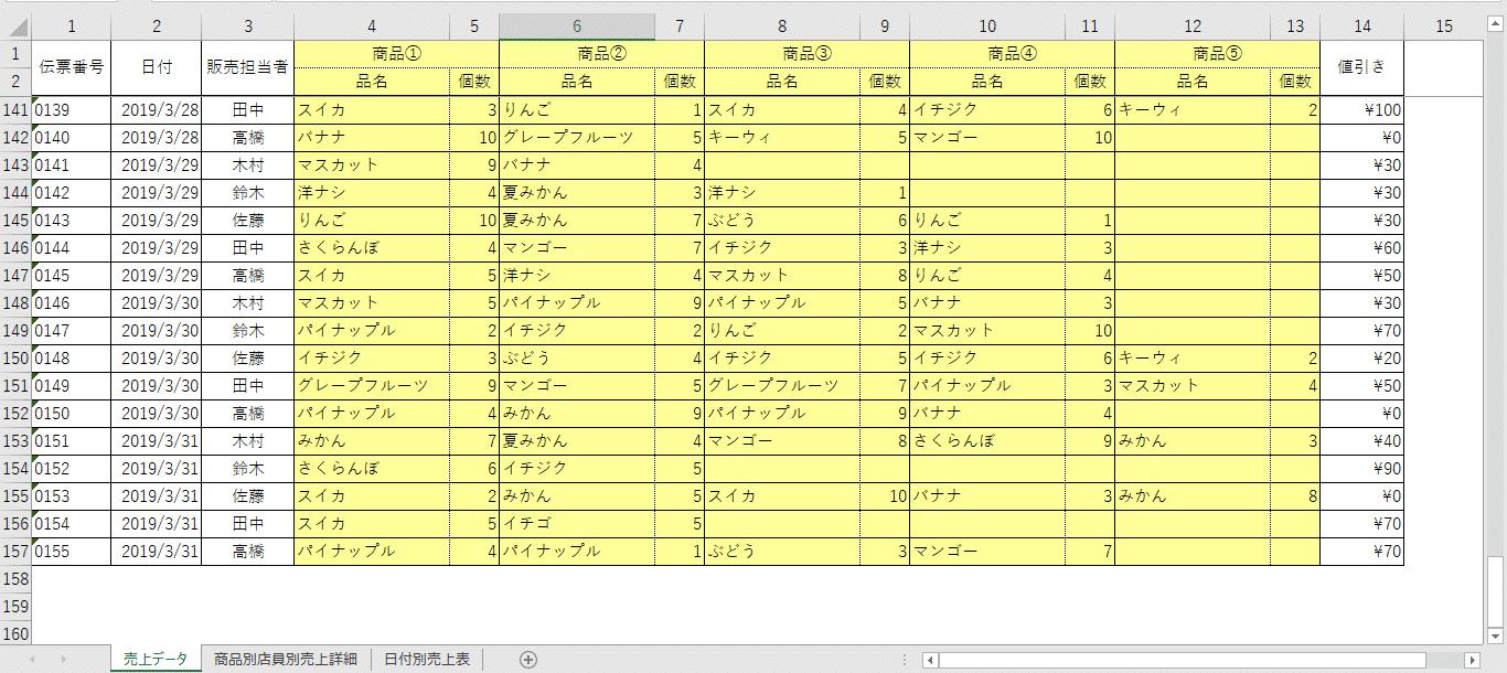 「売上データ」シート