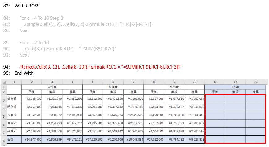 行方向の合計欄に数式を入力するVBAコード