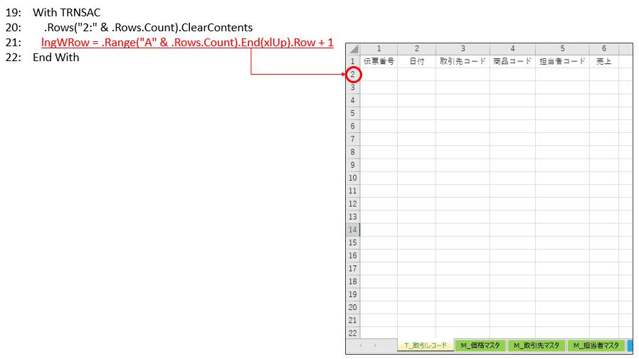 集計先シート「T_取引レコード」を初期化