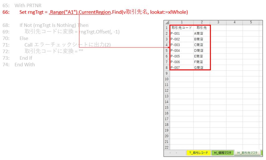 「M_取引先マスタ」のデータ範囲から取引先名を探して、一致したセルをrngTrgtオブジェクト変数にセット