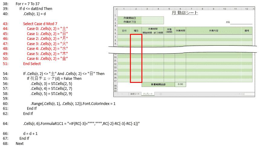 日付の曜日を計算してから勤怠表テンプレートの2列目に結果を入力する処理